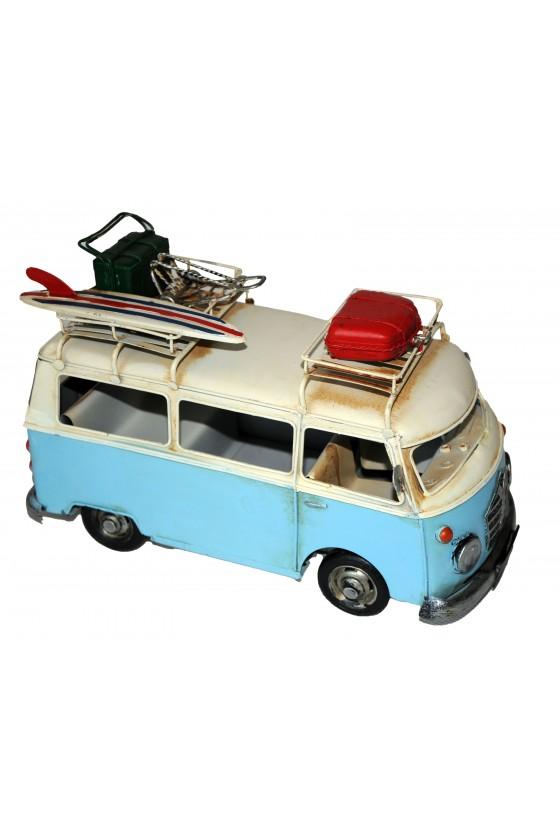 Campingbus, Retrobus, Metall/Textil, hellblau/multicolor