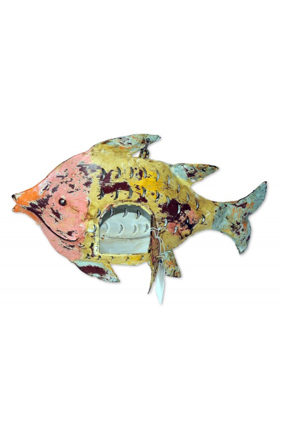 Windlicht, Fisch, Metall, gelb/rosa/türkis, zum Stellen
