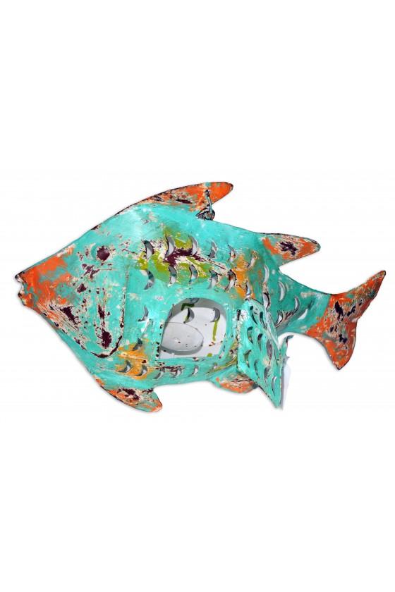 Windlicht, Fisch, Metall/multicolor, zum Hängen oder Stellen