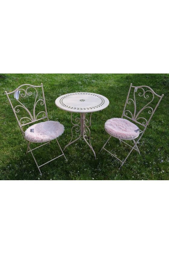 Garten-Garnitur, 3-teilig, Metall/ rosa lackiert, rund, Lochmuster, stabil