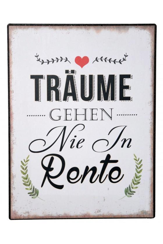 """Schild, """"Träume..."""", Metall/Papier weiß/braun"""