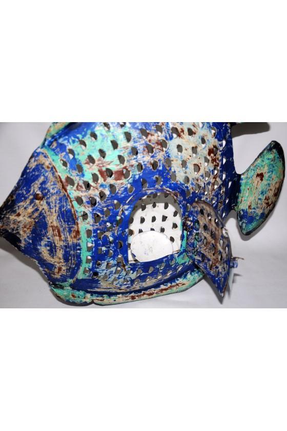 Windlicht, Fisch, Metall/lackiert, blau/türkis