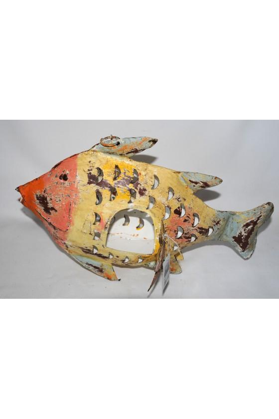 Windlicht, Fisch, Metall/lackiert orange/gelb/hellblau