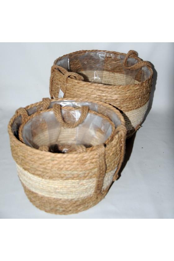 Körbe-Set, 3-teilig, Pflanzenkörbe, natur/creme