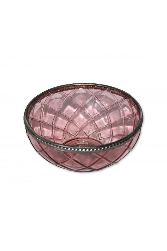 Windlicht, Glas, rosa,...