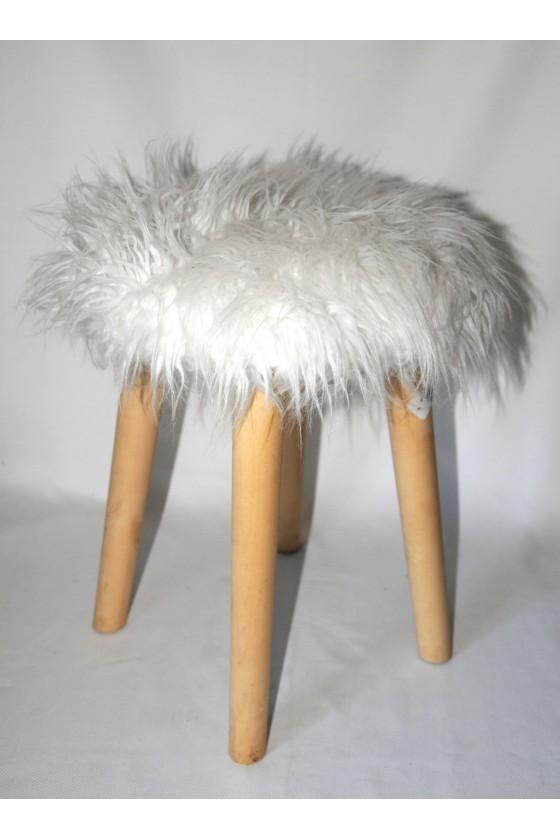 Hocker, Kunstfell weiß, 4 Beine Holz natur