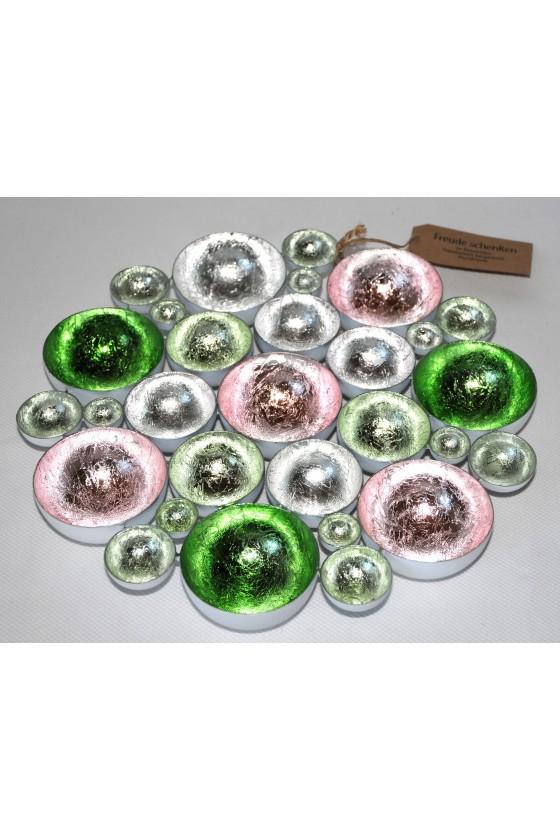 Windlicht, Metall, silber/rosa/grün