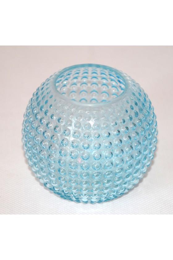 Windlicht, Glas, hellblau, genoppt, kugelförmig