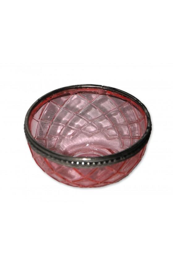 Windlicht, Glas, rosa, Silberrandeinfassung, rund, flach