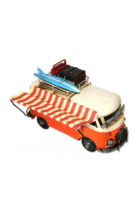 Campingbus mit Vordach, Retrobus, Metall/Textil, orange/multicolor