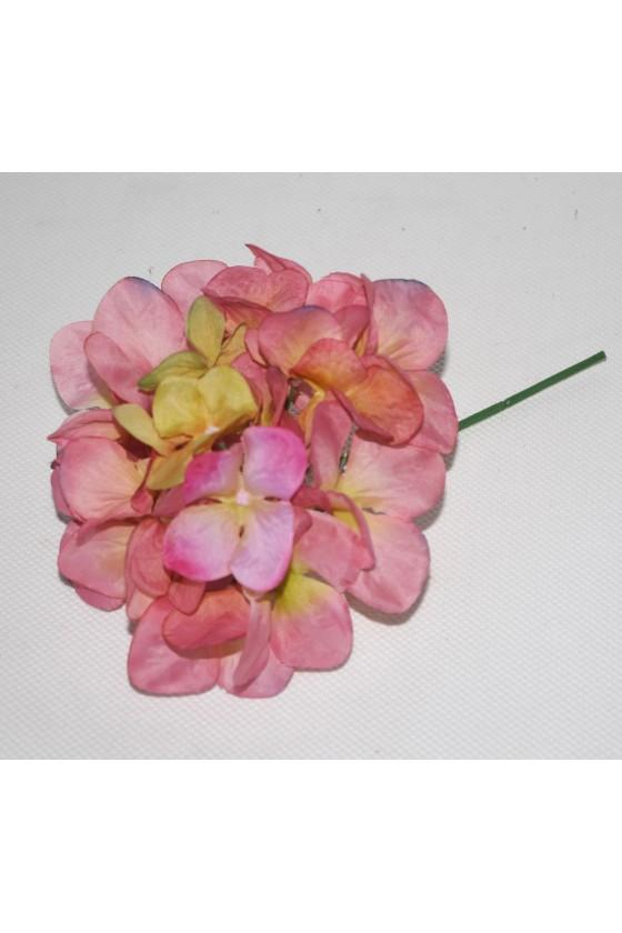 Hortensienstiel, Pik, Stiel grün, Blüte rosa, Textil
