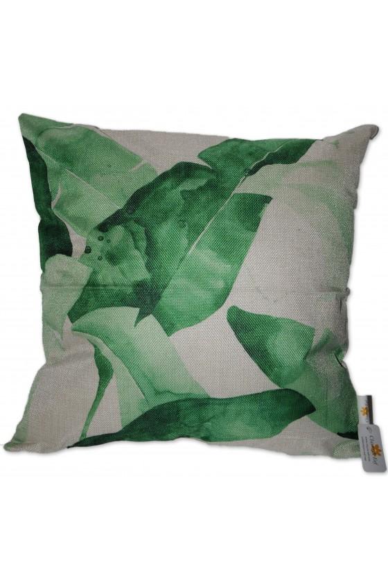 Kissenhülle, Palmblätter, Textil, grün/weiß