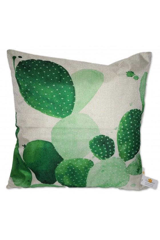 Kissenhülle, Kaktus, grün/weiß