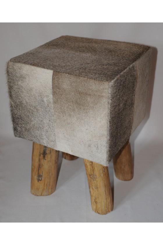 Hocker, Kuhfellhocker, grau, Echt Fell, Holz