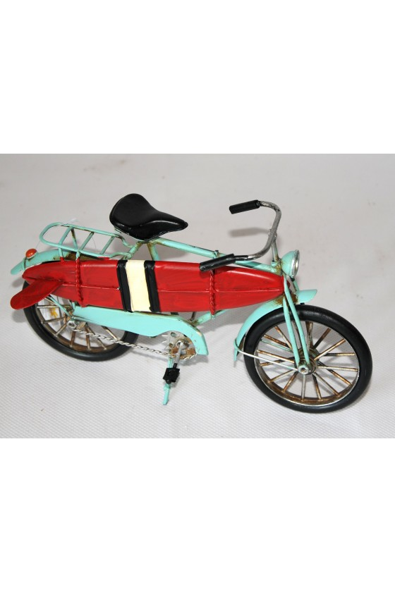 Fahrrad mit Surfbrett, Metall/lackiert, türkis/multicolor