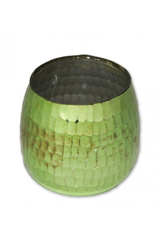 Windlicht, Glas, grün, Innenseite silber