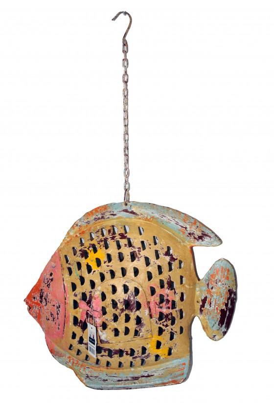 Windlicht, Fisch-Windlicht, Metall orange/gelb/türkis