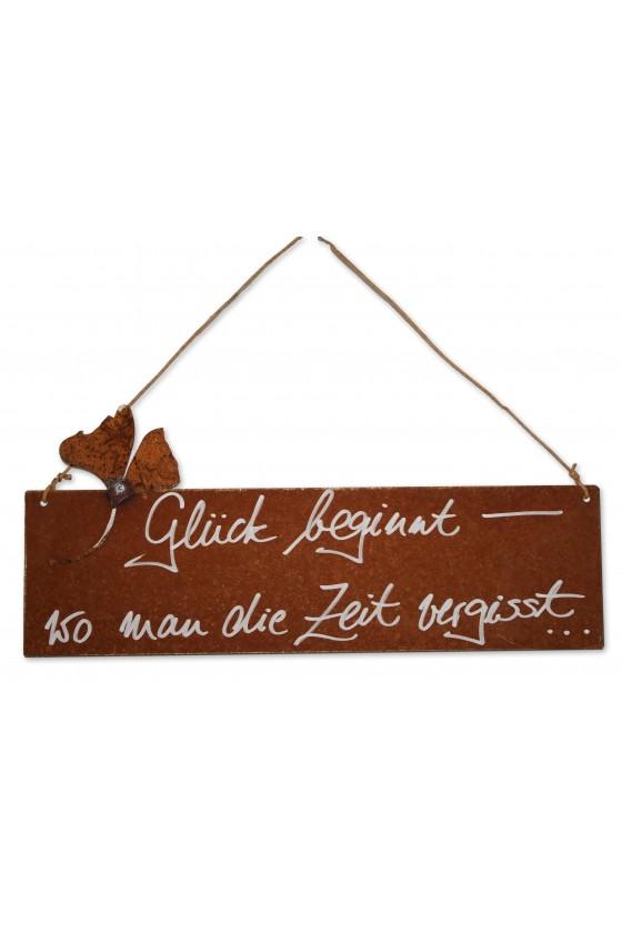 """Rostschild, Schild zum Hängen, """"Glück beginnt..."""""""