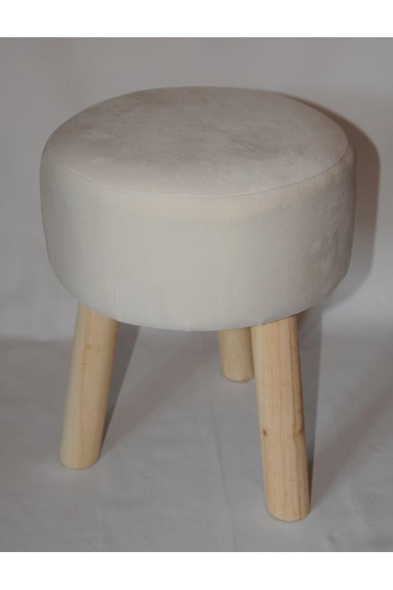 Hocker, Holz/Textil, creme