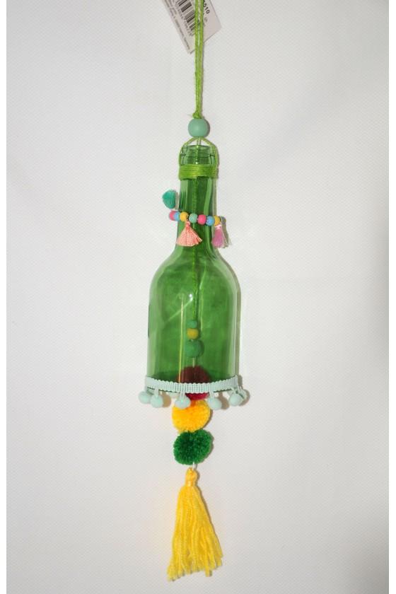 Windspiel, Glasflasche grün...