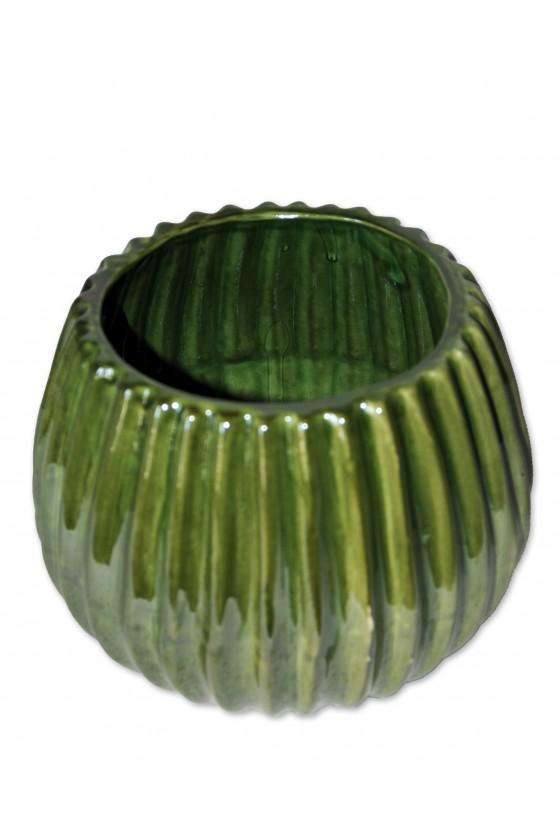 Vase, Kaktus, Deko-Objekt, Keramik, grün, bauchig