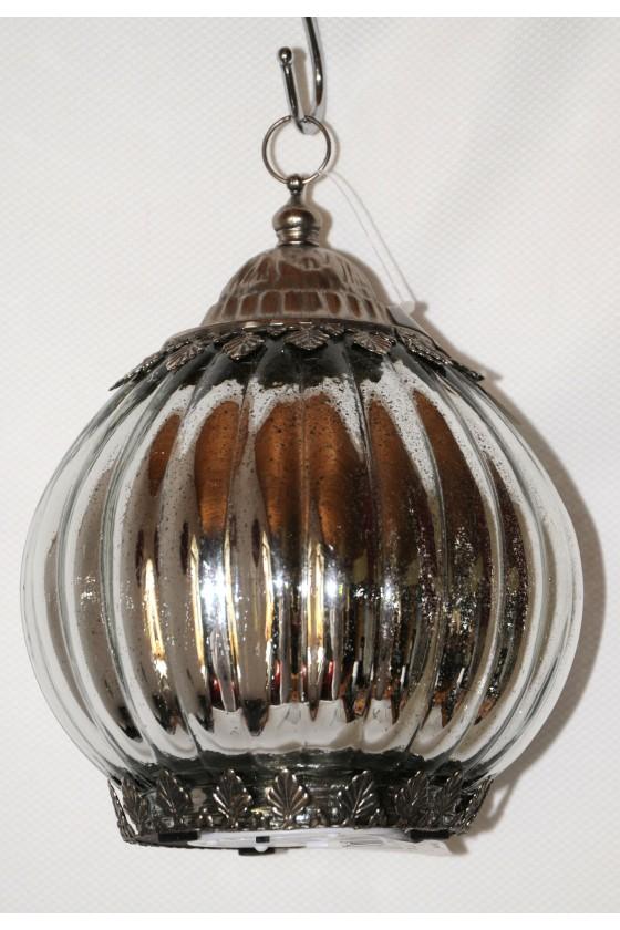 Windlicht, Glas, silber zum Hängen oder Stellen