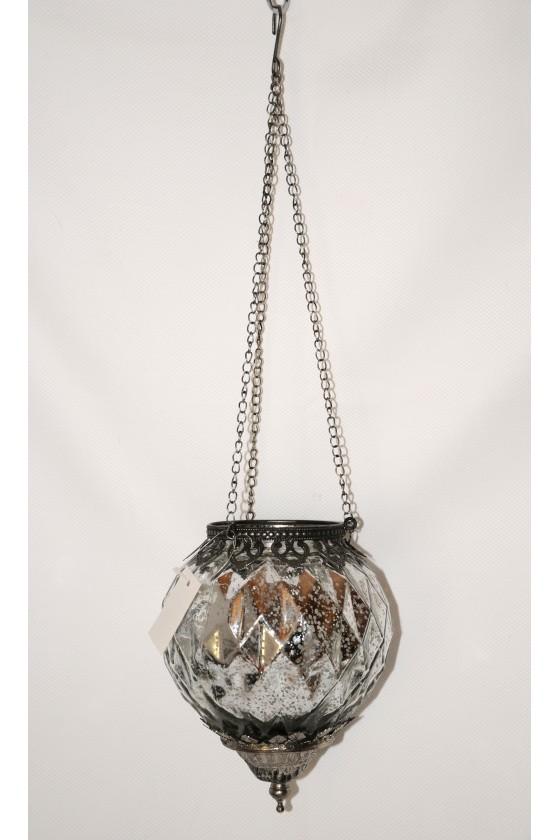 Windlicht, Glas, silber,...