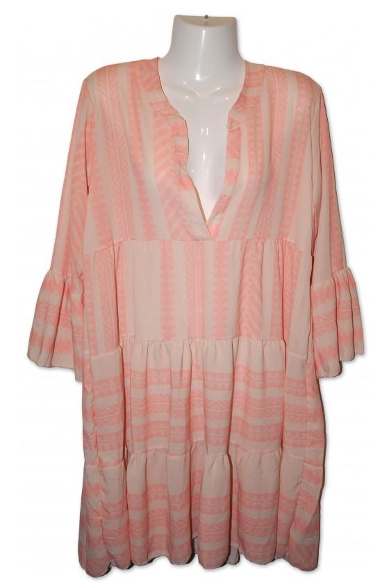 Kleid, Kurzkleid, creme/rosa