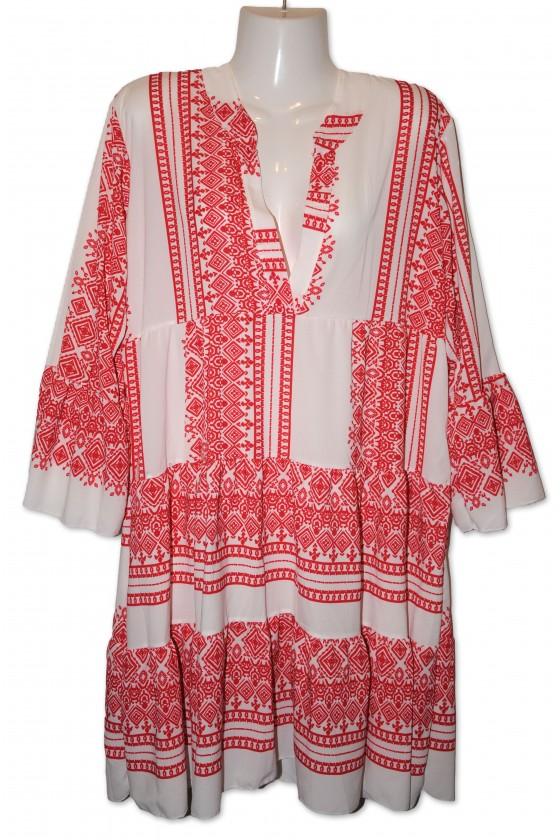 Kleid, Kurzkleid, weiß/rot