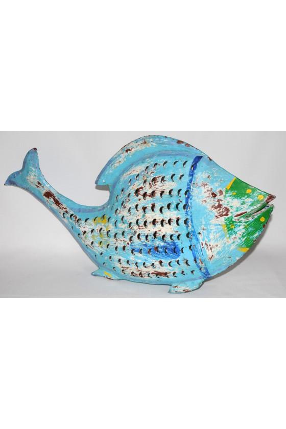 Windlicht, Fisch-Windlicht, blau/multicolor, Metall, lackiert