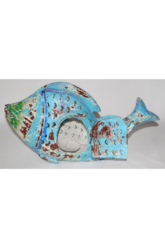 Windlicht, Fisch-Windlicht, blau/multicolor, Metall lackiert