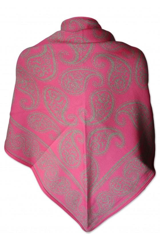 Dreieckstuch, Art en Laine, pink/dunkelbeige, Paisley