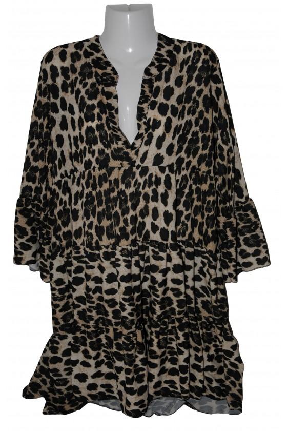 Kleid, Kurzkleid, Leoprint, braun/schwarz/creme