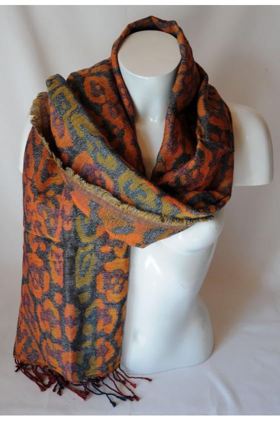 Schal, Leoprint, orange/braun
