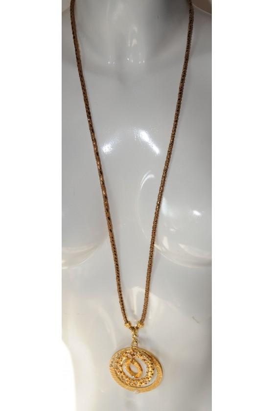 Kette, lang, Lederband braun/gold, Anhänger 3 Ringe, gold