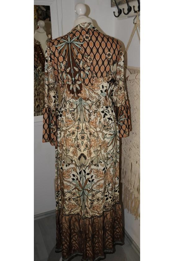 Kleid, lang, hell beige/braun gemustert, V-Ausschnitt