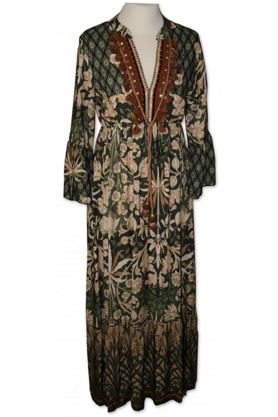 Kleid, lang, grün/braun...
