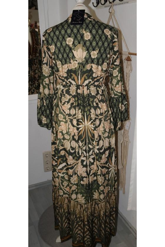 Kleid, lang, grün/braun gemustert, V-Ausschnitt