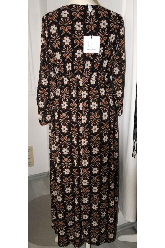 Kleid, lang, dunkelbraun gemustert, V-Ausschnitt