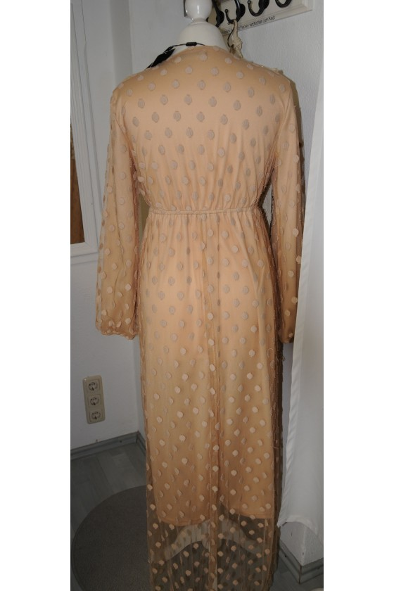 Kleid, lang, sandfarbig, Tüll, gefüttert, V-Ausschnitt