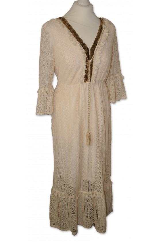 Kleid, lang, creme,...