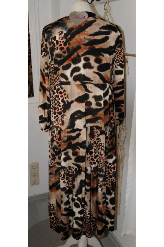 Kleid, lang, braun/schwarz/rost gemustert, Animalprint