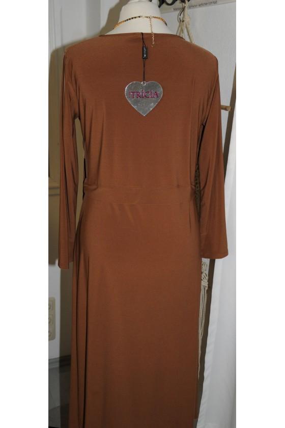 Kleid, halblang, cognac, Gr. M, Wickeloptik