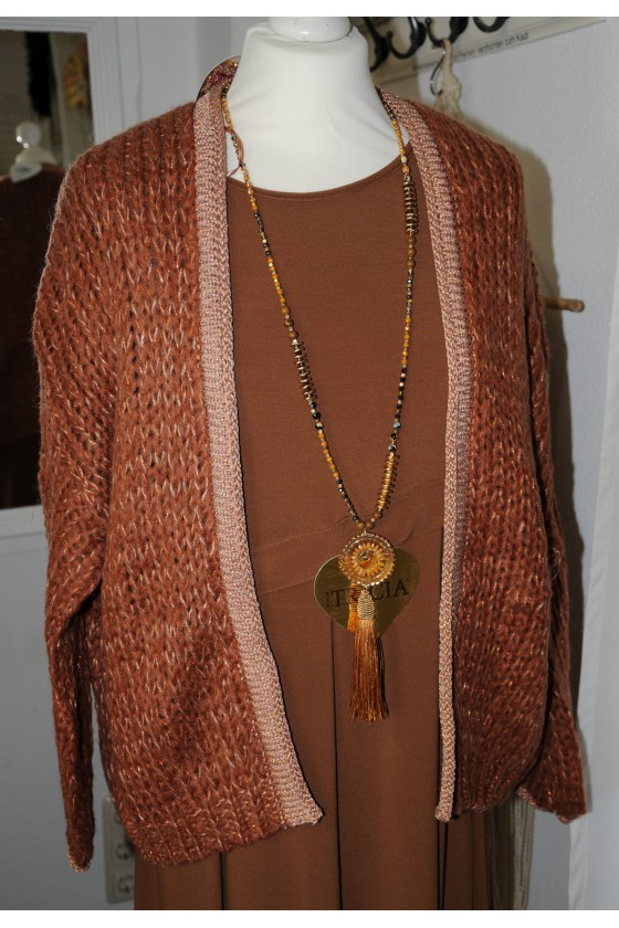 Strickjacke, kurz, toffee