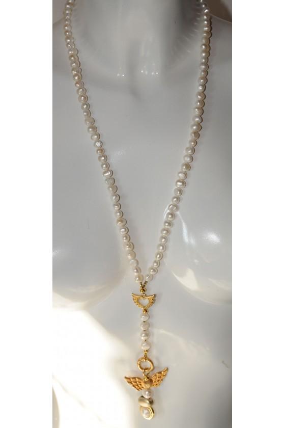 Kette, lang, Süßwasserperlen, Anhänger Flügel goldfarbig mit Perlen