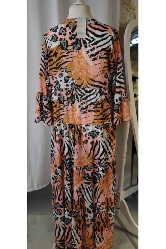 Kleid, lang, Animalprint, rosa/schwrz/creme/camel/grün gemustert