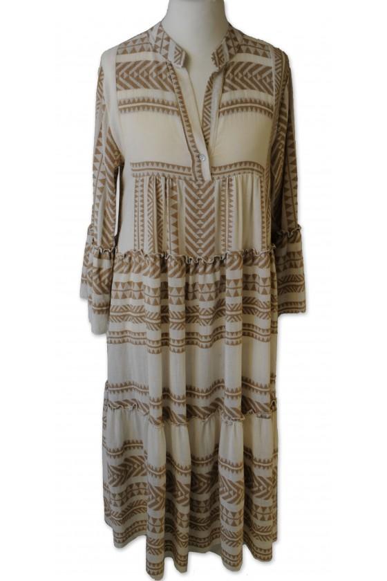 Kleid, lang, creme/beige, Ethnomuster, 50% Leinen/ 50% Baumwolle