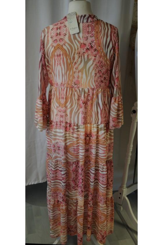 Kleid, lang, Schlangenprint/Zebra, creme/rosa/camel
