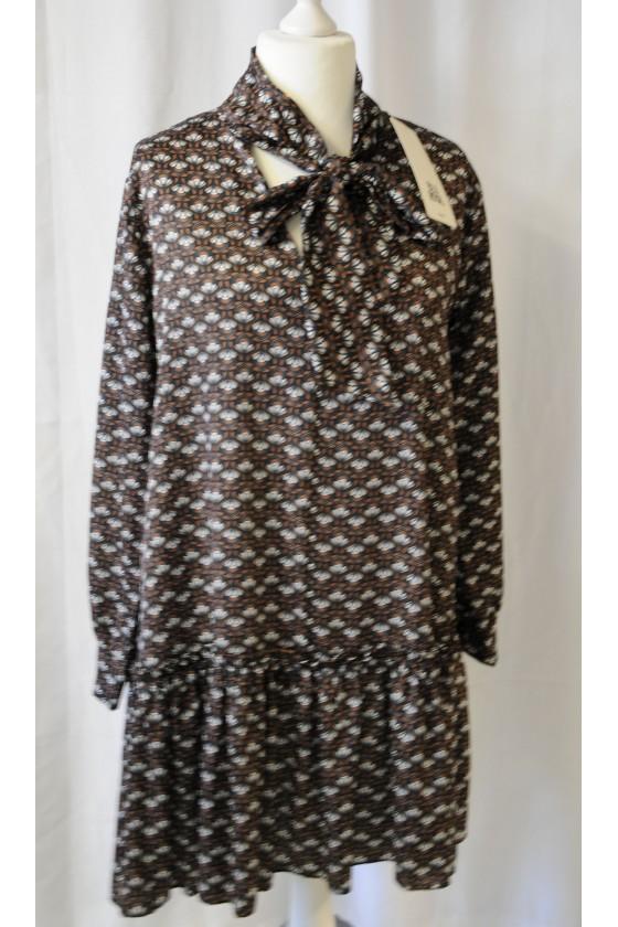 Kleid, Kurzkleid, Longbluse, Schluppenbluse, camel/schwarz/creme gemustert