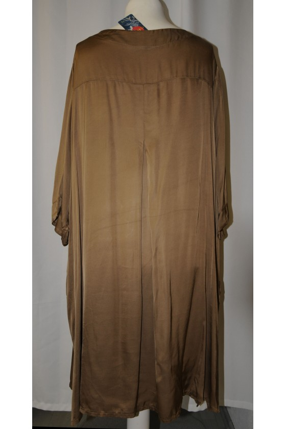 Kleid, Kaftan, V-Ausschnitt, camel, Seidensatin